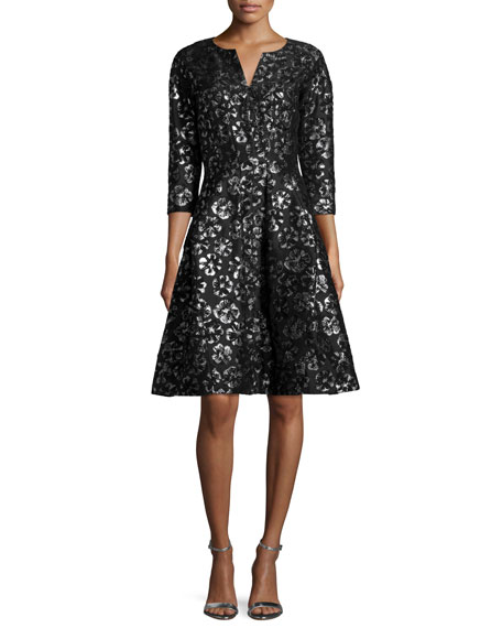 Oscar de la Renta3/4-Sleeve Metallic-Print Cocktail Dress, Black