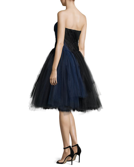Strapless Draped Tulle Cocktail Dress