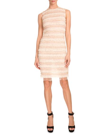 Sleeveless Micro-Ruffle Cocktail Dress, Pale Pink