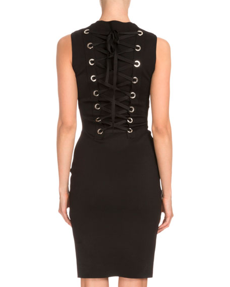 Sleeveless Corset-Back Sheath Dress, Black