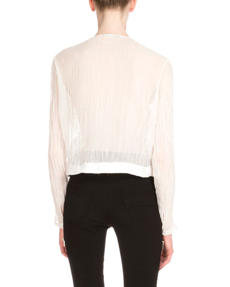 Long-Sleeve Ruffle-Front Top, White