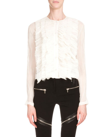 Givenchy Long-Sleeve Ruffle-Front Top, White