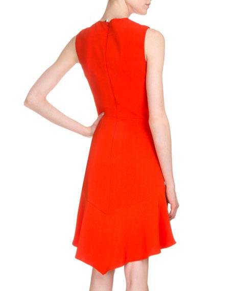 Sleeveless Handkerchief-Hem Sheath Dress, Bright Orange