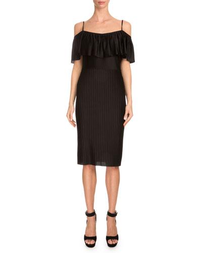 Off-The-Shoulder Ruffle Sheath Dress, Black