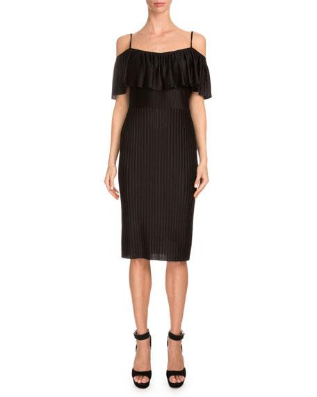 Givenchy Off-The-Shoulder Ruffle Sheath Dress, Black