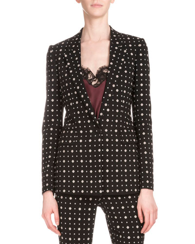 Printed One-Button Cady Blazer, Black