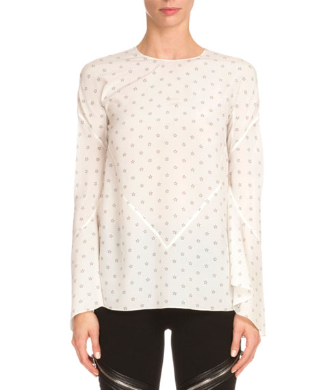 Bell-Sleeve Mini Star-Print Silk Blouse, White