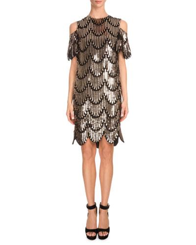 Cold-Shoulder Embellished Scallop Dress, Gold