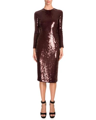Long-Sleeve Embellished Sheath Dress, Burgundy