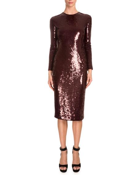 Givenchy Long-Sleeve Embellished Sheath Dress, Burgundy