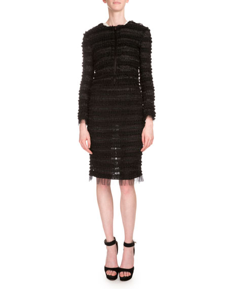 Givenchy Micro-Ruffle Embroidered Jacket, Long-Sleeve