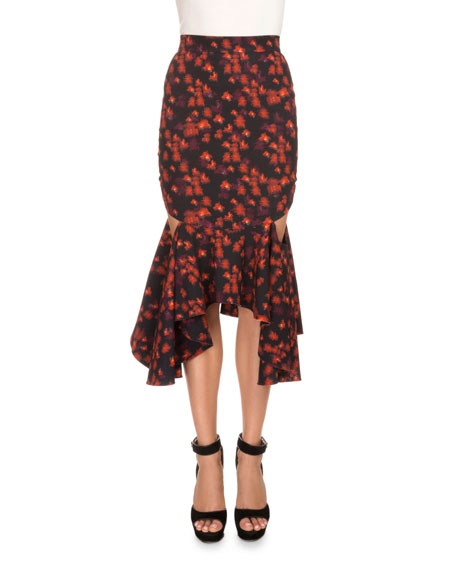 Givenchy Floral-Print Draped Flounce-Hem Skirt, Red