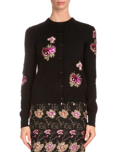 Floral-Embroidered Novelty Cardigan, Black