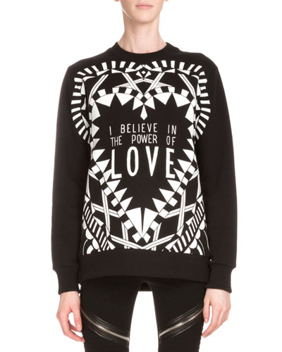 Power of Love Long-Sleeve Graphic Sweatshirt, Black
