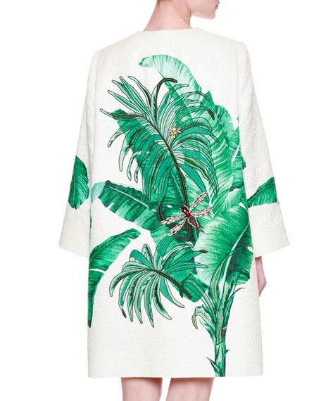 Embroidered Banana-Leaf Topper Coat, White/Green