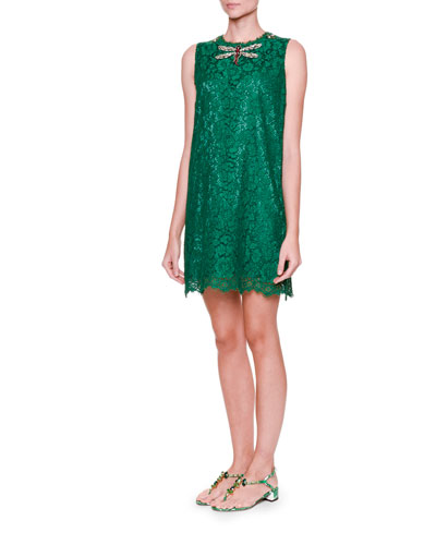Embellished-Dragonfly Lace Shift Dress, Light Musk Green