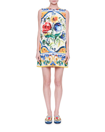 Sleeveless Maiolica Floral-Print Shift Dress, White/Blue/Yellow
