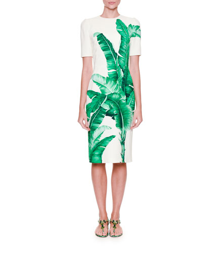 Banana Leaf-Print Sheath Dress, White/Green