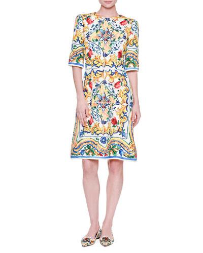 Half-Sleeve Maiolica Tile-Print Dress, White/Blue/Yellow