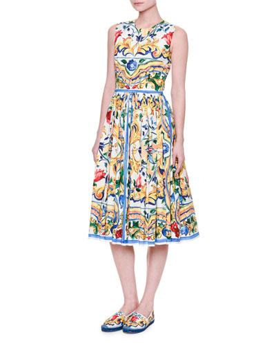 Sleeveless Maiolica Tile-Print Cotton Dress, White/Blue/Yellow