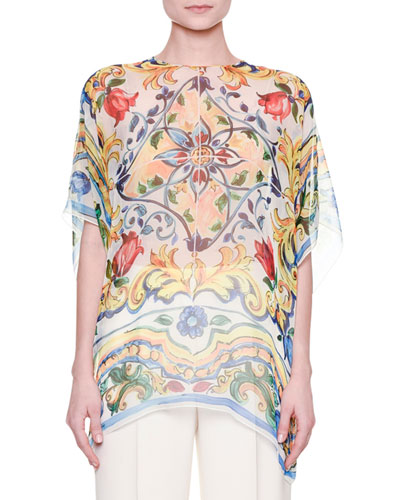 Half-Sleeve Maiolica Tile-Print Sheer Tunic, White/Blue/Yellow