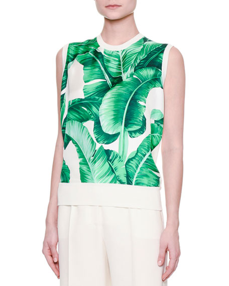 Jewel-Neck Banana Leaf-Print Shell, White/Green
