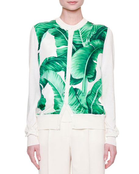 Button-Front Banana Leaf-Print Cardigan, White/Green