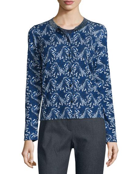 Escada Floral Lace-Print Wool/Silk Tank, Midnight