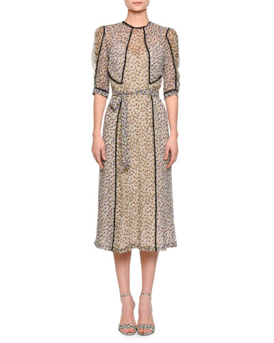 Half-Sleeve Mini-Floral-Print Midi Dress, Ecru/Multi