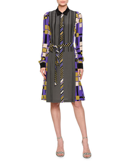 Bottega Veneta Long-Sleeve Mixed-Print Shirtdress, Lavender/Black
