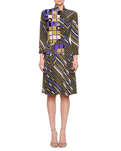 Asymmetric Button-Front Sheath Dress, Lavender/Black