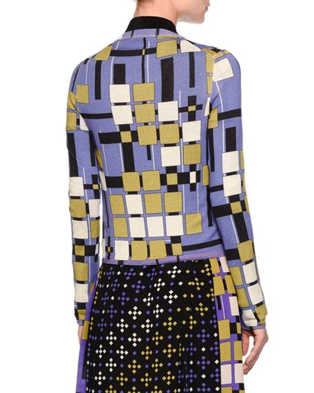 Button-Front Block Cardigan, Black/Ecru