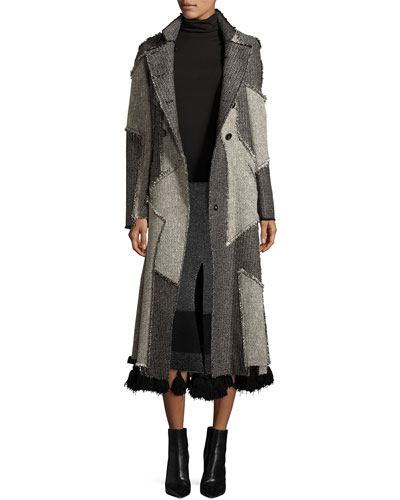Patchwork Tweed Double-Breasted Coat, White/Black
