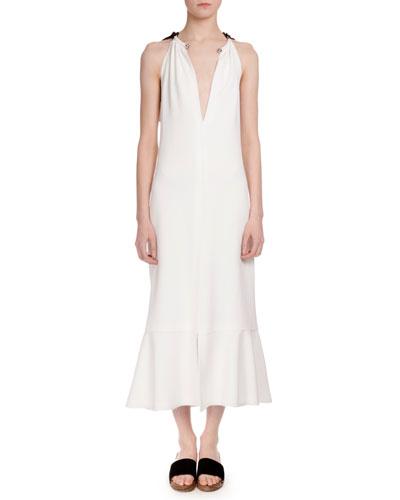 Sleeveless Tie-Back Trumpet Midi Dress, Off White