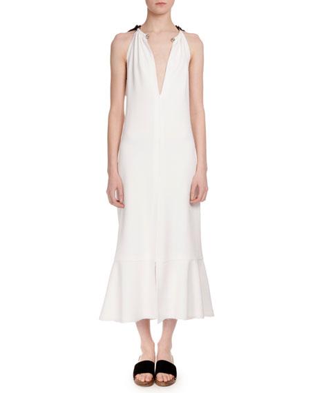 Sleeveless Tie Back Trumpet Midi Dress Off White