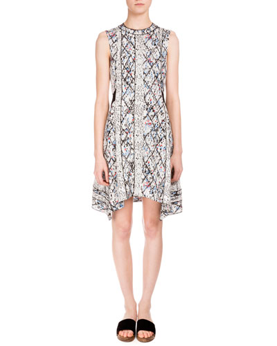 Sleeveless Jewel-Neck Marrakech-Print Dress, White/Black Marrakech