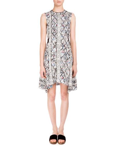 Sleeveless Jewel-Neck Marrakech-Print Dress, White/Black Marrakech