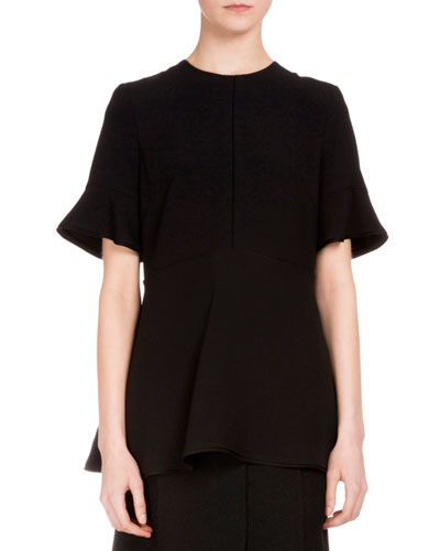 Flutter-Sleeve Jewel-Neck Blouse, Black