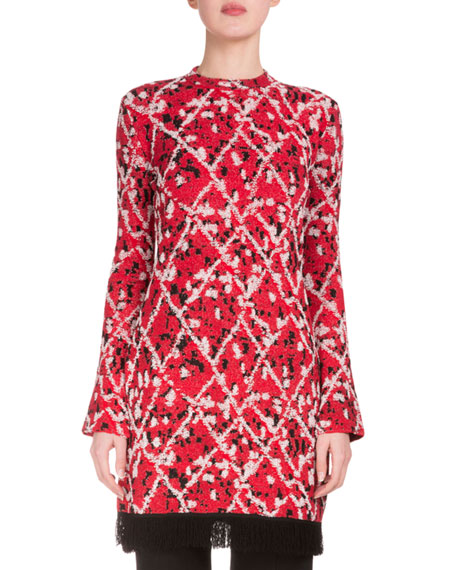 Proenza Schouler Long-Sleeve Intarsia Split-Hem Tunic, Red/Combo