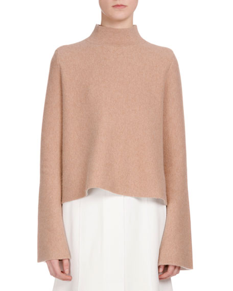 Proenza Schouler Long-Sleeve Mock-Neck Cropped Sweater, Camel/Off ...