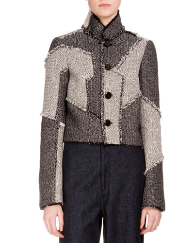 Button-Front Patchwork Cropped Jacket, White/Black/Combo