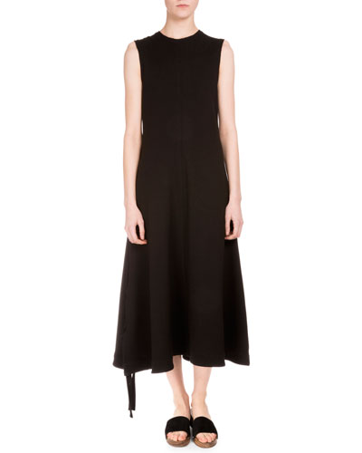 Sleeveless Midi Dress W/Side Ties, Black