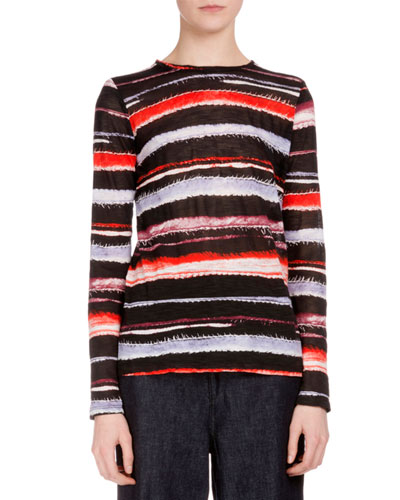 Long-Sleeve Cactus-Striped T-Shirt, Poppy/Maroon Stripe