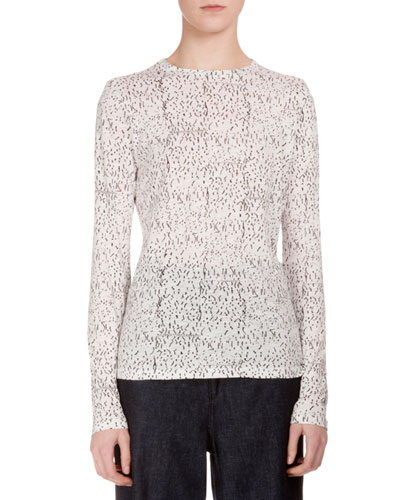 Long-Sleeve Speckle-Print T-Shirt, Black/White Speckle