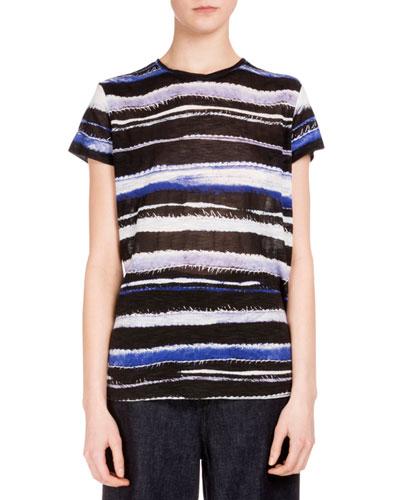 Short-Sleeve Cactus-Striped T-Shirt, Blue/Cobalt Stripe