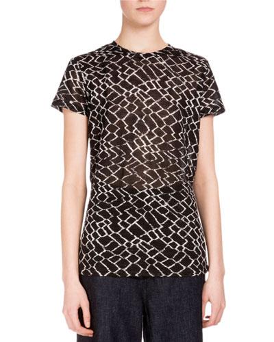 Short-Sleeve Diamond-Print T-Shirt, Black/White Diamond