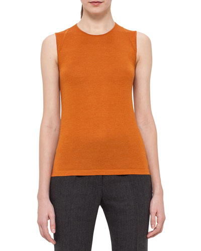 Sleeveless Cashmere/Silk Jewel-Neck Top, Karminspint