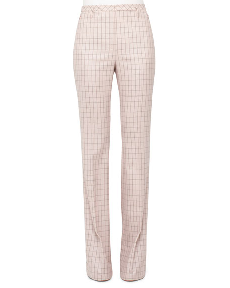 Akris High-Waist Boot-Cut Check Pants, Flamingo/Steppe