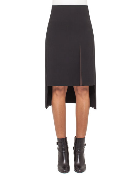 Akris High-Waist Split-Hem Skirt, Black