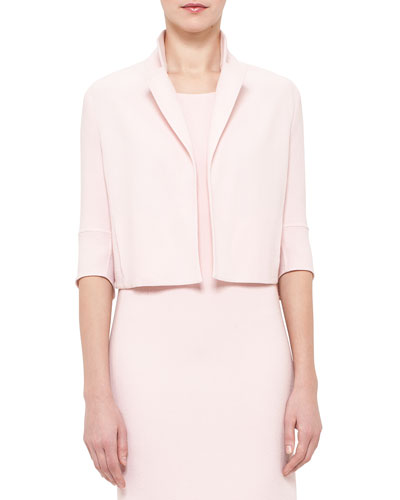 Emma 3/4-Sleeve Short Wool Cocoon Jacket, Flamingo